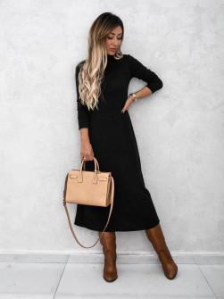 Πλεκτό μακρύ φόρεμα 00809 μαύρο