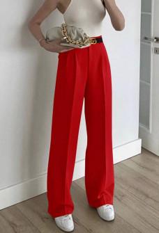 Γυναικείο φαρδύ παντελόνι με ζώνη 5508 κόκκινο