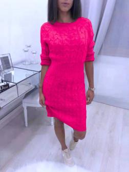 Γυναικείο πλεκτό φόρεμα 1028 φούξια