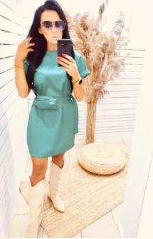 Γυναικείο φόρεμα δερματίνης με τσαντάκι H0945 μέντα