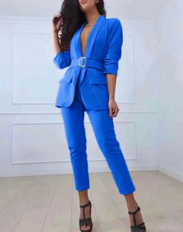 Γυναικείο σετ σακάκι και παντελόνι 3971 μπλε