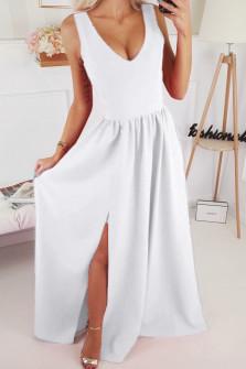 Γυναικείο μακρύ φόρεμα με σκίσιμο 1977 άσπρο