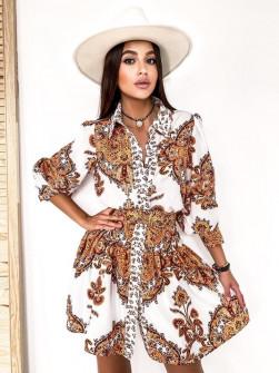 Γυναικείο φόρεμα με σχέδια με ζώνη στη μέση 5490 άσπρο/καμηλό