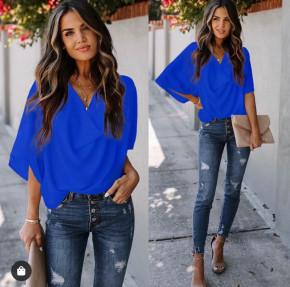Γυναικεία μπλούζα με χαλαρό ντεκολτέ 50811 μπλε ρουά