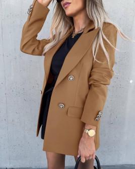 Γυναικείο μακρύ σακάκι με φόδρα 6075 καμηλό