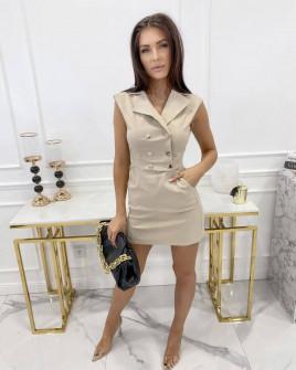 Γυναικείο φόρεμα με κουμπιά από τις δύο πλευρές 3671 μπεζ