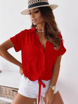Γυναικείο πουκάμισο με δέσιμο 5606 κόκκινο