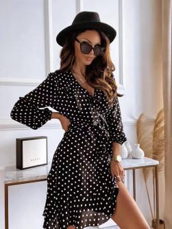 Γυναικείο πουά  φόρεμα 3906 μαύρο