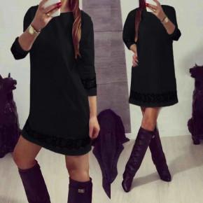 Γυναικείο φόρεμα με δαντέλα 383101 μαύρο