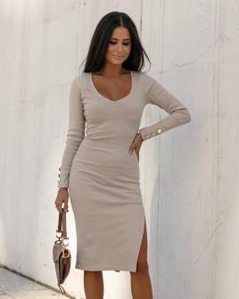 Γυναικείο εφαρμοστό φόρεμα 6020 μπεζ