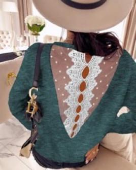 Γυναικεία μπλούζα με εντυπωσιακή πλάτη  3251 πράσινη