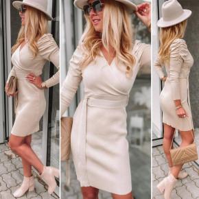 Γυναικείο φόρεμα με ζώνη 6046 μπεζ