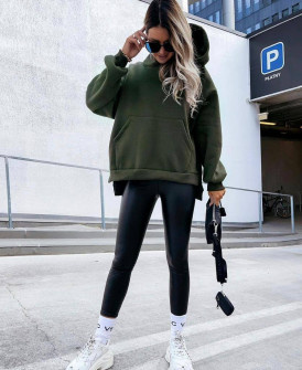 Γυναικείο χοντρό φούτερ με κουκούλα 4903 σκούρο πράσινο
