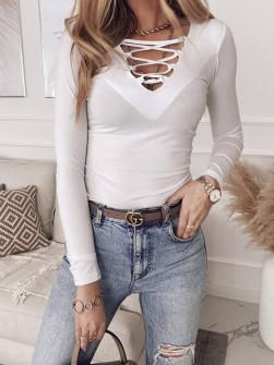 Γυναικεία μπλούζα με κορδόνια 4702 άσπρο