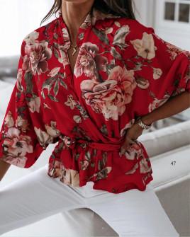Γυναικεία μπλούζα με κορδόνι στη μέση 5033 κόκκινη