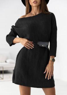 Γυναικείο μπλουζοφόρεμα με ζώνη τσάντα 88077 μαύρο