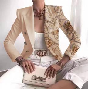 Γυναικείο εντυπωσιακό σακάκι με φόδρα 5652 μπεζ