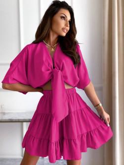 Γυναικείο σετ πουκάμισο και φούστα 14824 φούξια