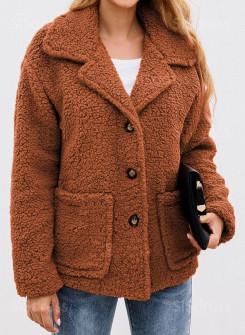 Κοντό γούνινο παλτό 2588 καφέ