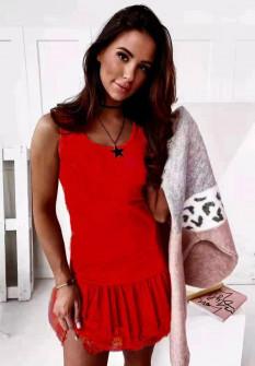 Γυναικείο φόρεμα με δαντέλα 3506 κόκκινο