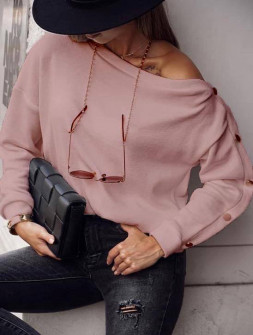 Γυναικεία μπλούζα με κουμπιά 15184 ροζ