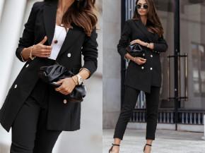 Γυναικείο σετ παντελόνι και σακάκι με φόδρα 5358 μαύρο