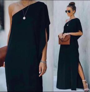 Дамска свободна рокля с един ръкав 5211 черна