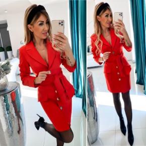 Γυναικείο φόρεμα με ζώνη και κουμπιά 3948 κόκκινο