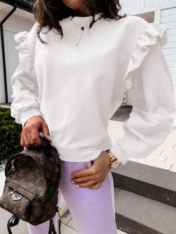 Дамска блуза с обемни ръкави 24155 бяла
