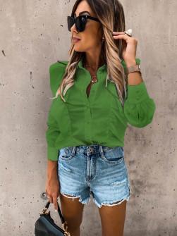 Γυναικείο πουκάμισο με βολάν 8554 πράσινο