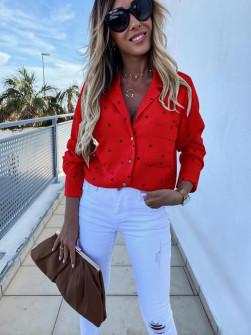 Γυναικείο πουκάμισο πουά 5242 κόκκινο