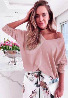 Γυναικεία μπλούζα με βαθύ ντεκολτέ 51035 ροζ