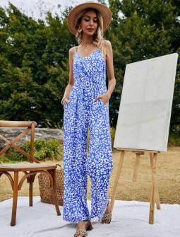Γυναικεία ολόσωμη φόρμα με print 37200 μπλε