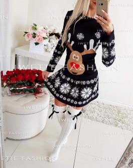 Γυναικείο φόρεμα με τάρανδο 9772 μαύρο