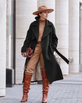Γυναικείο παλτό με φόδρα 88031 μαύρο