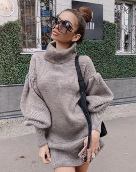 Γυναικείο πλεκτό μπλουζοφόρεμα 00751 καπουτσίνο