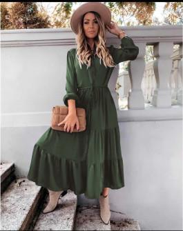 Γυναικείο μακρύ φόρεμα με κουμπιά 5337 χακί