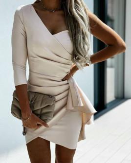 Γυναικείο φόρεμα με ένα μανίκι 3730 μπεζ