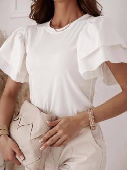 Γυναικεία μπλούζα με φουσκωτό μανίκι 77730 άσπρη