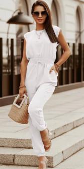 Γυναικεία εφαρμοστή ολόσωμη φόρμα 5765 άσπρη