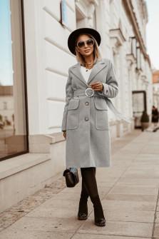 Γυναικείο παλτό με ζώνη 5373 γκρι