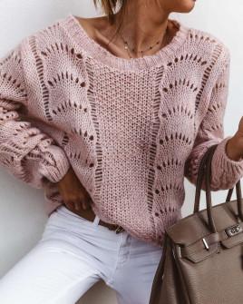 Γυναικείο εντυπωσιακό πουλόβερ 3324 ροζ