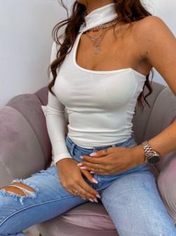 Γυναικεία μπλούζα με ένα μανίκι 4332 άσπρη