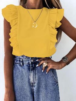 Γυναικεία μπλούζα με βολάν 2154 κίτρινη