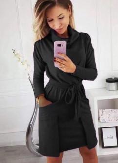 Γυναικείο φόρεμα με ζιβάγκο γιακά 3759 μαύρο