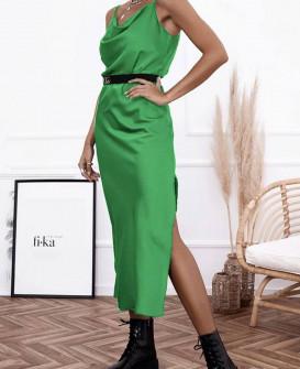 Γυναικείο φόρεμα σατέν 21070 πράσινο