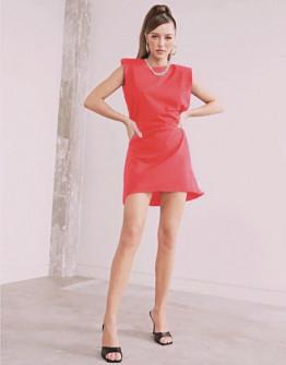 Γυναικείο φόρεμα με βάτες στους ώμους 5151 κοραλί