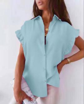 Γυναικείο χαλαρό πουκάμισο 54991 γαλάζιο