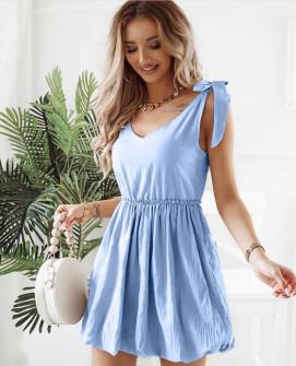 Γυναικείο φόρεμα με εντυπωσιακές τιράντες 8088 γαλάζιο
