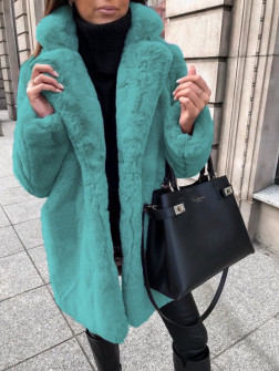Γυναικείο χνουδωτό παλτό 21131 τυρκουάζ